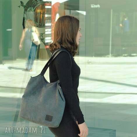 lekka i poręczna ciemnoszara torba 2708 - torba, torebka, weekendowa, prezent