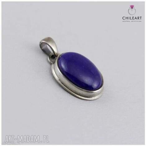 lapis lazuli w oksydowanym srebrze - delikatny wisiorek 2920 (lapis lazuli wisior, wisior)