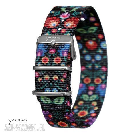 pasek do zegarka - nato, nylonowy, folk czarny, zegarek, folkowy, kwiaty