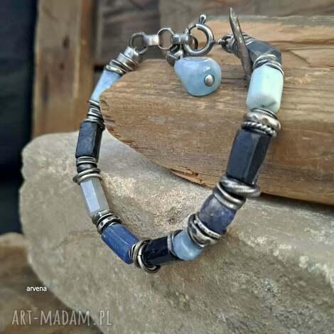 niebieska - bransoletka 06, kyanit, akwamaryn bransoletka, turmalin, nowoczesna