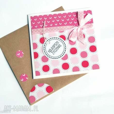 najlepsze życzenia kartka handmade pink, urodziny, imieniny