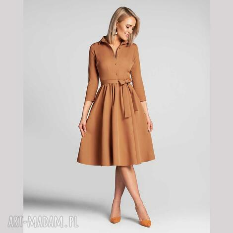 sukienka sabina midi carmel, szmizjerka, midi