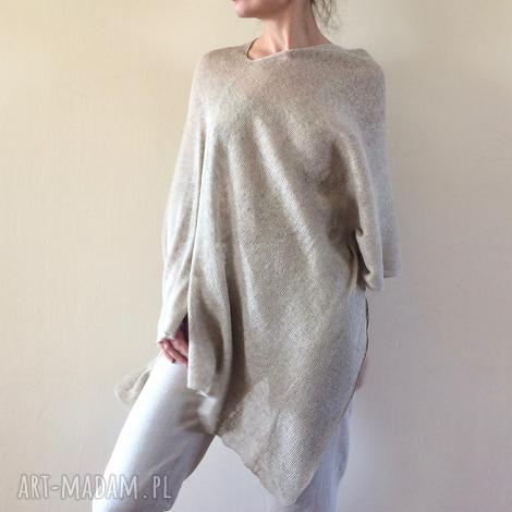 poncho klasyczne naturalne lniane ponczo, narzutka, sweter, bluzka