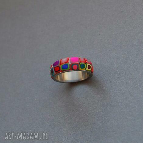 wzorzysta obrączka, fimo modelina, wzorzyste, kolorowe stal