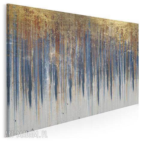 obraz na płótnie - wzór niebieski złoty 120x80 cm 90401, abstrakcja, art