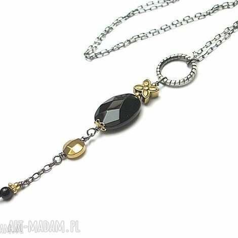 black flower -naszyjnik - srebro, oksydowane, pozłacane, kwarc, hematyty, onyks
