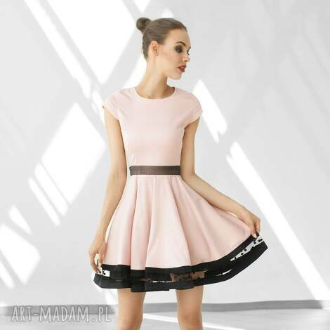 sukienki sukienka rozkloszowana z ozdobnym pasem pag, rozkloszowana, wesele