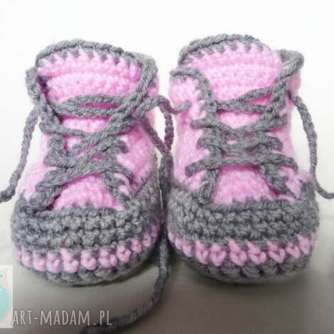 buciki szydełkowe trampki różowe, buciki, trampki