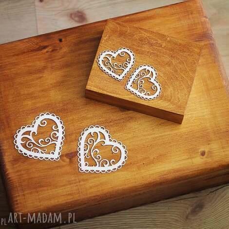 zestaw pudełek - na obrączki i koperty, drewno, koronka, pudełko