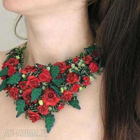 kolia - czerwona róża - ręcznie robiona - naszyjnik, kolia, róże