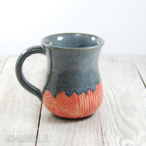 ceramika kubek ceramiczny sgraffito, do kawy, herbaty, walentynki, dzień kobiet