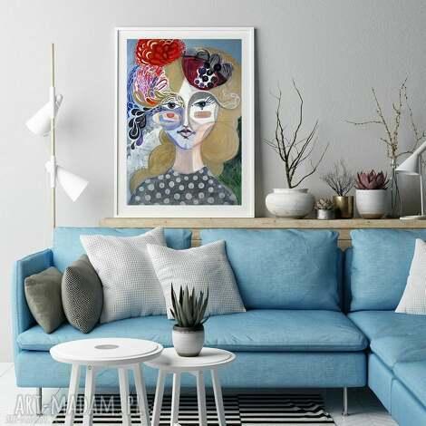 plakat 30x40 cm - fascynator, plakat, wydruk, twarz, obraz, kobieta, grafika