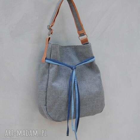 simply bag - duza torba worek - szara plecionka - worek, prezent, wakacje, niebanalna