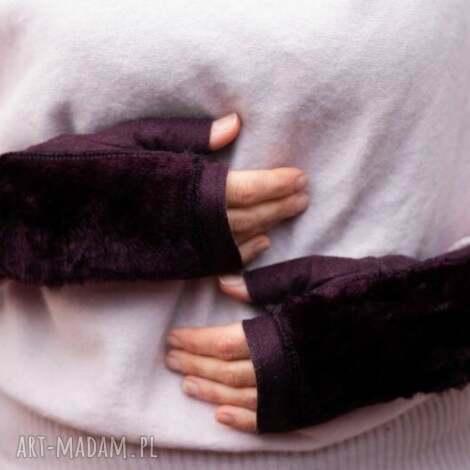 rękawiczki bezpalcowe z futerkiem fiolet rękawiczki, filc, futro, prezent dla niej