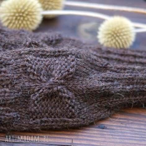mitenki w brązie - mitenki, rękawiczki, dziergane, kokardka, alpaka