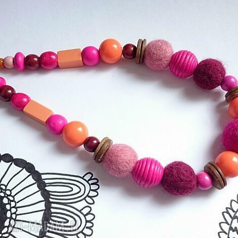 orange pink - korale, filc, filcowy, naszyjnik