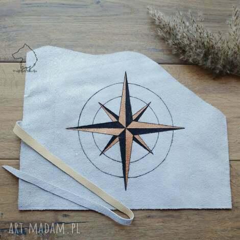 etui skórzany piórnik na pędzle kompas - ręcznie robiony i malowany, piórnik, skóra