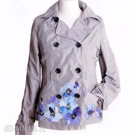 kurtka wiosenna ręcznie malowana - kurtka, wiosenna, letnia, ręczniemalowana