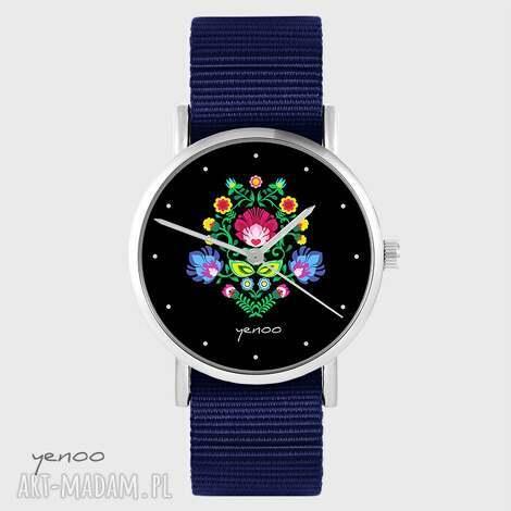 zegarki zegarek yenoo - folkowy, czarny granatowy, nato, zegarek, bransoletka
