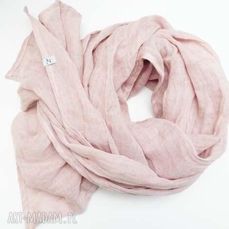 obszerny szal lniany wiosenny, modny szal eco lniany pudrowy róż - szal, chusta
