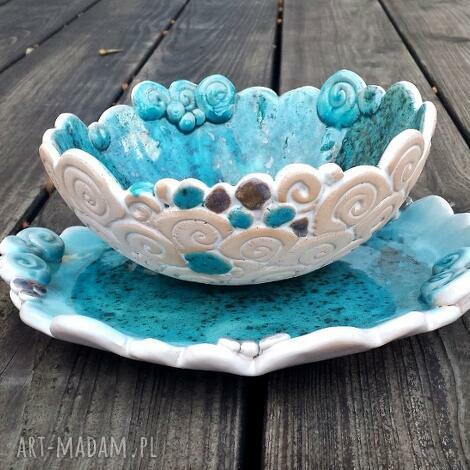 turkusowy duet - ceramiczny zestaw talerz i miska, talerz, patera, ślimak