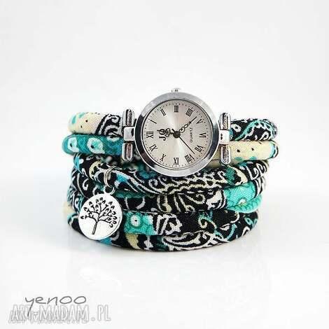 zegarek, bransoletka - turkusowy boho - owijany - zegarek, bransoletka, boho, rzemień