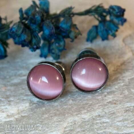 b614 drobinki kocie oko -kolczyki srebrne, kolczykisrebrne, rózowe, sztyftyróżowe