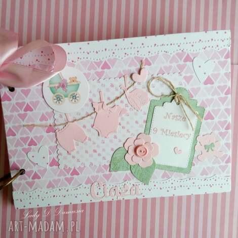 notes ciążowy - ciąża, maluszek, dziewczynka, mama, narodziny, róż