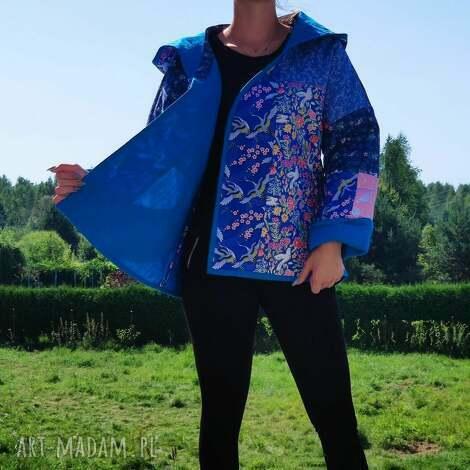płaszcz patchworkowy boho krótki z kapturem - waciak, folk, płaszcz, kaptur