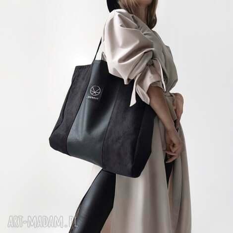 duża czarna torba xl - eko zamsz, torba, pojemna wegańska