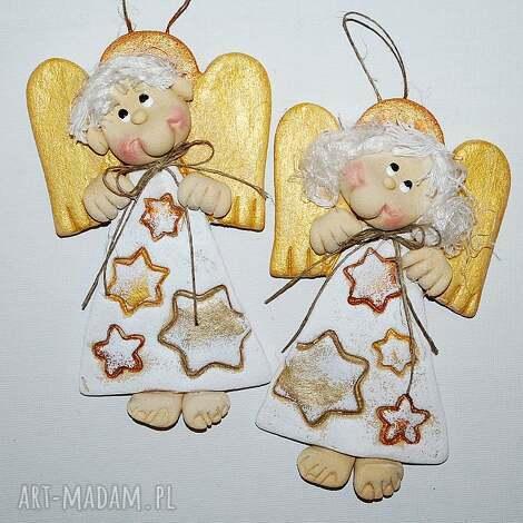 gwiezdny pył - aniołki z masy solnej masa solna, prezent, dekoracja