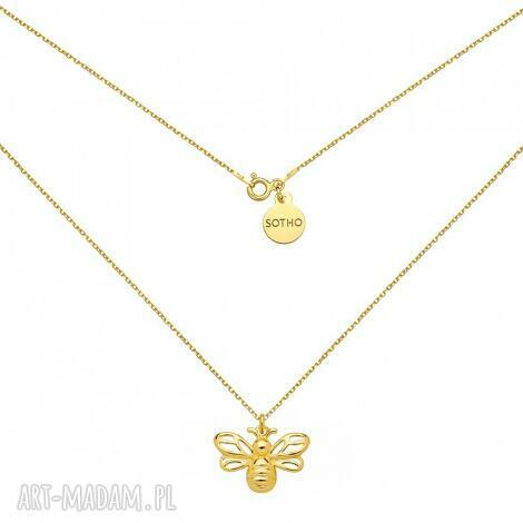 zŁoty naszyjnik z pszczÓŁkĄ - modny, naszyjnik, srebro, pszczółka