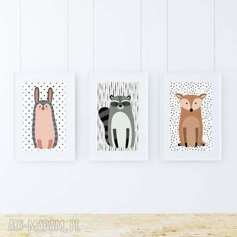 zestaw plakatów woodland friends a3 - zwierzaki, kropki, zajączek, plakat