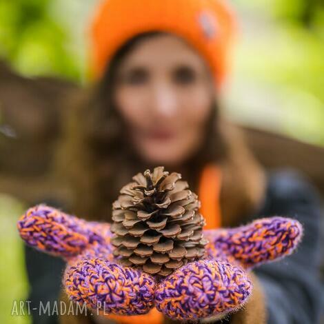 rękawiczki fiołki fiołeczki kolorowe, pomarańczowy, neon oldschool