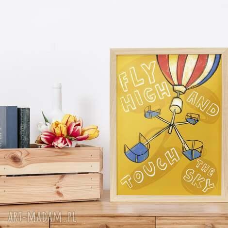 plakat a2 fly high, karuzela, poster, dekoracja, plakat, balony