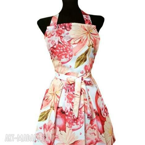 fartuch sukienkowy wzór kwiatowy i granaty, kuchenny