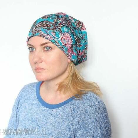 czapka damska w orientalne wzory - damska, etno, orientalna, wiosenna, mama, boho