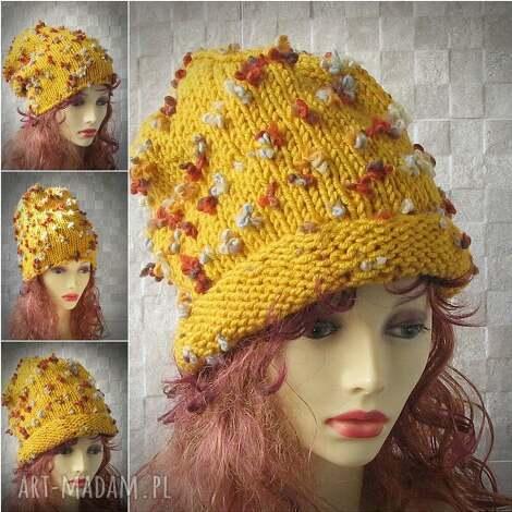 czapka ręcznie robiona złota musztarda oversized - czapka, oversized, gruba