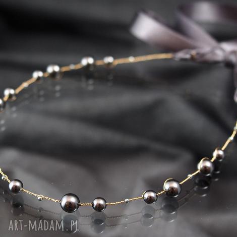 prezent na święta, perłowa opaska, ozdoba, swarovski, perły