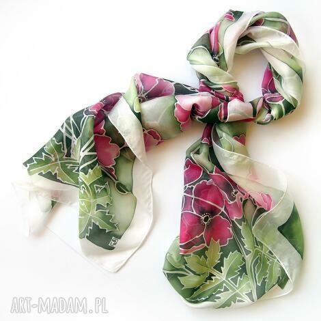 długi szal jedwabny maki w zieleni, dla mamy, maki, kimono