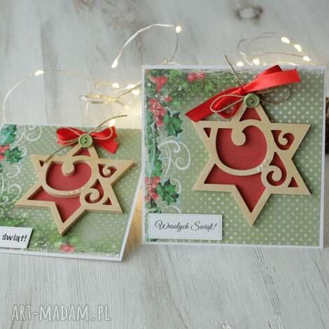 komplet 2 kartek na boże narodzenie - kartka, święta, prezent, kartki
