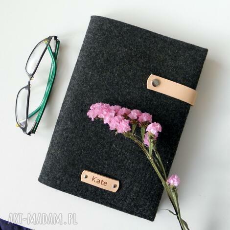 notes w filcowej okładce - personalizowany z imieniem beż, notes, filcowa