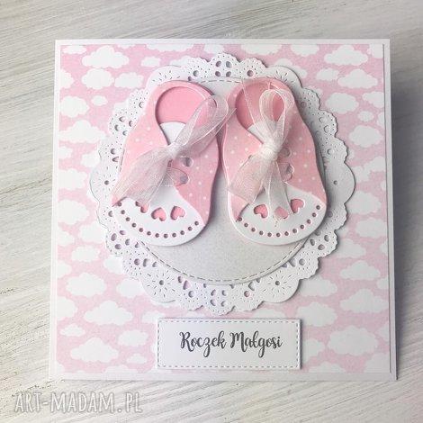 kartka na roczek - buciki - kartka, roczek, chrzest, dziewczynka