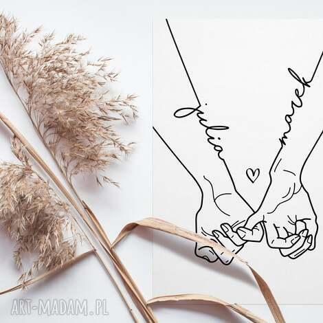 plakat złączone dłonie zakochanych 30x40 cm, z dłońmi