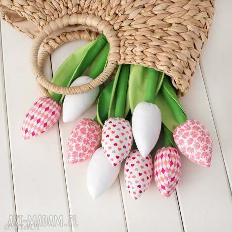 dekoracje tulipany jasno różowy bawełniany bukiet, bawełniane