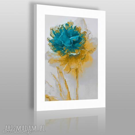 obraz na płótnie - kwiat turkus - 50x70 cm 02002 - kwiat, nowoczesny, obraz