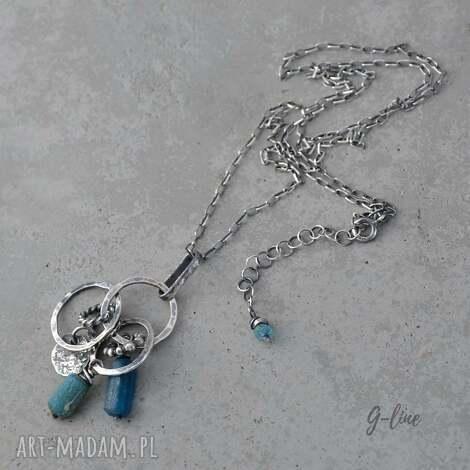 niebieskie szkło antyczne srebry wisiorek, surowy, srebrny, ze szkłem