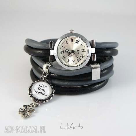 liliarts zegarek, bransoletka - live your dreams owijany, rzemienie, zegarek