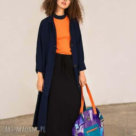 na ramię fioletowa torba damska z folii kieszonką, torba-damska
