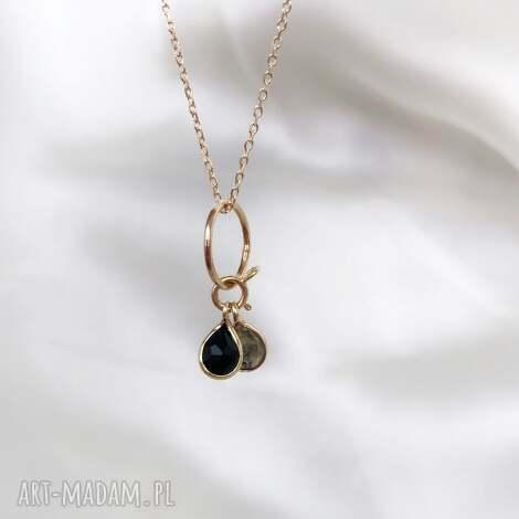 naszyjnik - onyks, labradoryt, kamienie naturalne, naszyjnik z kamieniami, biżuteria